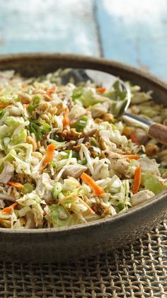 Pack this crunchy chicken salad for a picnic the next time you dine al fresco. To save time, use leftover chicken pieces, or precooked frozen chicken that you can simply cook up and cool. To make it a little sweeter, toss in an 11-ounce can of mandarin orange slices, drained.