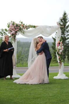 Gorgeous Wedding Ceremony Structures Asymmetrical floral placements and fabric draping add to the romance of this setup.Asymmetrical floral placements and fabric draping add to the romance of this setup. Wedding Arch Flowers, Wedding Ceremony Arch, Floral Wedding, Rustic Wedding, Wedding Ideas, Wedding Ceremonies, Ceremony Backdrop, White Wedding Arch, Wedding Aisles