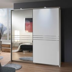 Medeira Sliding Wardrobe In Alpine White With 1 Mirrored Doo