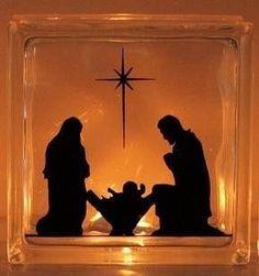 Nativity Baby Jesus Mary and Joseph---glass block from Hobby Lobby, vinyl cut-out via Cricut & a single light