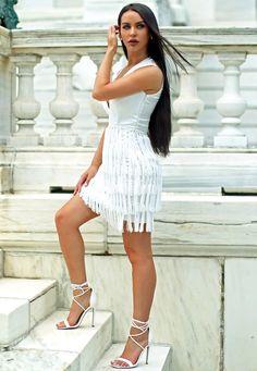Missguided - Carli Bybel Fringed Tassel Detail Bodycon Dress White
