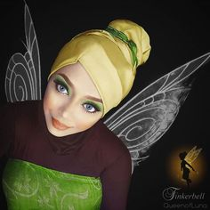 Malaysian makeup artist Saraswati uses her hijab and makeup to turn herself into actual Disney characters. | Tinkerbell