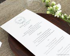 Whimsical Wreath Wedding Menu Cards by LoloLincoln, TOTAL: $81.25 (Flat Menu Cards) for 25 menus, $146.25 for 75 menus, $97.50 for 50 menus.