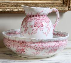 Antique Red & White Transferware Washstand Set | Antique China/Ceramics | Inessa Stewart's Antiques