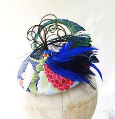 Womens Hat Bird Hat Peacock Feather Fascinator by BatcakesCouture