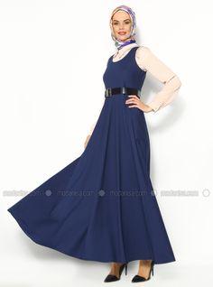 Kemerli Jile Elbise - Parlamet Mavi- Sultan - I Yegah