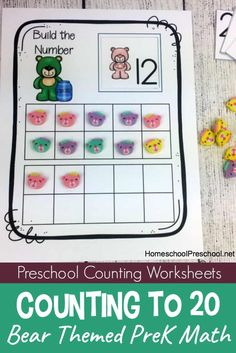 These free preschool worksheets will help your little ones recognize, count, and write the numbers 1 - These bear-themed preschool counting worksheets are perfect for extra practice! Bears Preschool, Numbers Preschool, Free Preschool, Math Numbers, Preschool Printables, Preschool Learning, Kindergarten Worksheets, Preschool Activities, Preschool Readiness