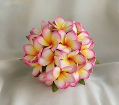 Frangipani Wedding Bouquet - Sunset Pink