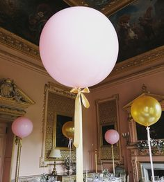 Our gorgeous pink and gold giant balloons tied with a satin ribbon bow at the splendidly sumptuous Stanford Hall in Leicestershire Bubble Balloons, Giant Balloons, Confetti Balloons, Country House Wedding Venues, Wedding Fayre, Wedding Balloons, Balloon Decorations, Ribbon Bows, Pink And Gold