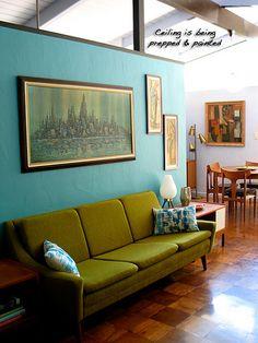 Wall colour, brass lamp, art work - everything!