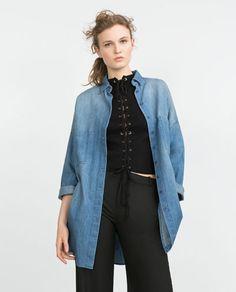 Image 5 of OVERSIZED DENIM SHIRT from Zara