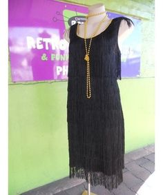 Miss Millie Women's 1920's Long Black Flapper Costume (and plus size)
