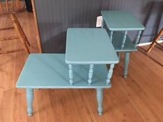 """""""We stumbled across this set of end tables for $12."""" Look at how gorgeous they are in her bedroom now! Table For 12, Diy End Tables, Glass End Tables, Side Tables, Paint Furniture, Furniture Makeover, Home Furniture, Furniture Ideas, Apartment Furniture"""