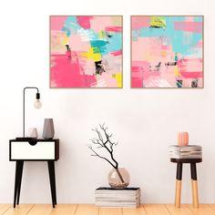 Pink, Yellow, Blue Abstract Art,  Printable Art, Minimal Wall Art,  Modern Decor, Diptych, Contemporary Art, Colourful Printable Art   #Art #AbstractArt #Prints #Printable #WallArt #Modern #Pink #Minimalist
