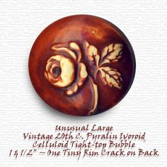 Unusual Large Mahogany Tinted Pyralin Ivoroid Rose Celluloid Bubble Button ~ R C Larner Buttons at eBay & Etsy        http://stores.ebay.com/RC-LARNER-BUTTONS
