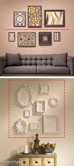 when hanging frames, draw imaginary lines. Line Art (top): If you have a generous amount of horizontal wall space, draw an imaginary line on your wall and place artwork, photos or decorative plates above and below the line so your display feels balanced. Squared Away (bottom): If you want to fill vertical wall space, such as in an entryway or grand foyer, create a square or rectangle on your wall with painter's tape and loosely arrange your pieces inside. via @raymourflanigan