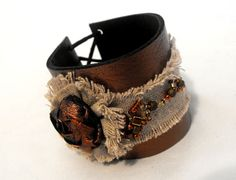Leather and lace cuff bracelet. Vintage chic inspired leather bracelet.