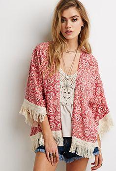 Spring / Summer - Street chic style - beach style - boho chic style - coral abstract tile print fringe lightweight kimono + cream v-neck crochet top + unfinished hem denim shorts