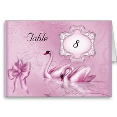 Table Number Place Card Pink Swans SET