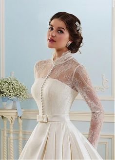 Glamorous Satin High Collar Neckline A-line Wedding Dress