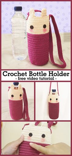 Learn how to crochet this bottle cozy / holder. This can be used for tumblers too. Learn how to crochet this bottle cozy / holder. This can be used for tumblers too. Crochet Kitchen, Crochet Home, Cute Crochet, Crochet Baby, Crotchet, Crochet Bag Tutorials, Crochet For Beginners, Crochet Projects, Tutorial Crochet