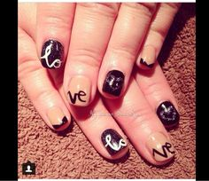 Valentines day nails in nude and black created using CND shellac Vineland,nj