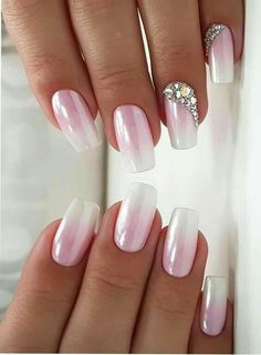Pink is one of the colors that is most liked by young females nowadays. Whether it is hair colors or nail designs, pink colors is one of the best choice for ladies since last many years. You may visit here and see how beautiful ideas of pink nails we have White Nail Designs, Best Nail Art Designs, Acrylic Nail Designs, Pink White Nails, Pink Nails, My Nails, Pink Nail Art, Pink Glitter, Glitter Nails