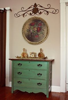 Green Dresser in Place