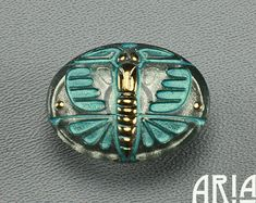 CZECH GLASS BUTTON: 22x28mm Deco Butterfly Handpainted Czech Glass Button, Pendant, Cabochon (1)