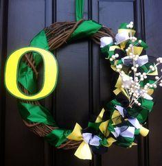 Oregon Ducks Wreath - University of Oregon Wreath - Collegiate Wreath. $50.00, via Etsy.
