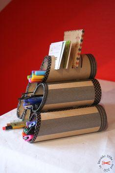 DIY : Rangement pour crayons avec masking tape / toilet paper rolls/ washi tape…