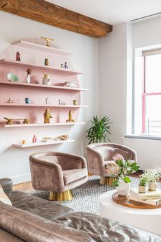 pink accents in this boho glam living room