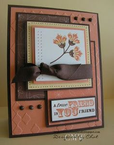 Stamps: True Friend Paper: Groovy Guava, Barely Banana, Chocolate Chip, Whisper White DSP Ink: Groovy Guava, Choclate Chip, Barely Banana Accessories: Grosgrain Ribbon, brads Tools: Tool kit, CB and folder