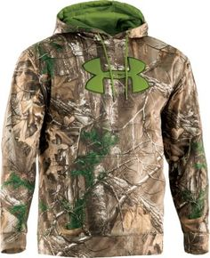A premium hunting layer, the Armour Fleece Hoodie boasts UA's ColdGear® Infrared technology, a lightweight thermo-conductive coating inside the garment that absorbs and retains your body heat.  Sizes:  L-2XL.  Camo patterns:  Mossy Oak® Treestand®, Realtree XTRA®.