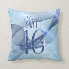 Shop Sparkling Swirls Sweet Sixteen Blue Throw Pillow created by arrayforhome. Custom Pillows, Decorative Pillows, Sweet 16 Party Supplies, Pastel Blue Background, Sweet 16 Parties, Silk Pillow, Sweet Sixteen, Dusty Blue, Swirls