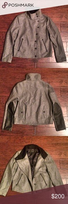 """RAG & BONE WOOL COAT Beautiful Rag & Bone gray wool blend coat with black vegan leather accents. Amazing western/arrow detailing around pockets with signature """"dagger"""" Rag & Bone black buttons. All pockets are functional (even the back ones)! Zipper on sleeve to further open cuffs if desired. 100% authentic! rag & bone Jackets & Coats"""