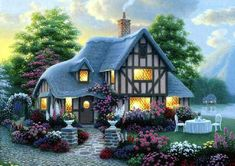 The perfect vacation home Cute Cottage, Cottage In The Woods, Cottage Style, Wallpaper Free Download, Wallpaper Downloads, Thomas Kinkade Art, Kinkade Paintings, Good Night Wallpaper, Fairytale Cottage