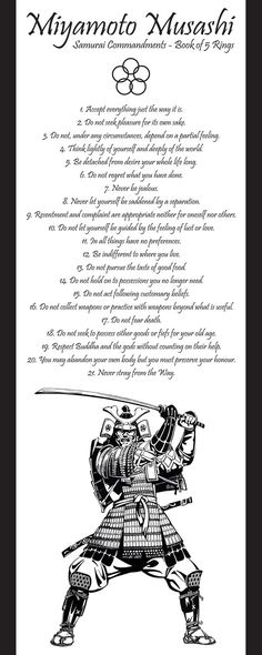 Samurai Commandments - Book of 5 Rings Miyamoto Musashi: