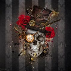 Skull Boy - Steam punk inspired mixed media digital art print/photomanipulation.