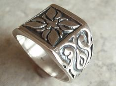 Sterling Silver Ring Band Textured Size 11-3/4 Etched Vintage 130508