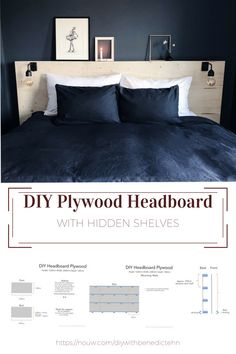 Diy plywood headboard - with lights and shelf above for Art Plywood Headboard Diy, Diy Bed Headboard, Headboard With Shelves, Black Headboard, Modern Headboard, Leather Headboard, Bookcase Headboard, Headboard Designs, Headboards For Beds