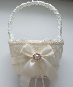 for Elise and Julia Wedding Flower Girl Basket with Net Lace, Ivory Satin Bow and a Pearl Surrounded by Crystals - The SHANNON Basket