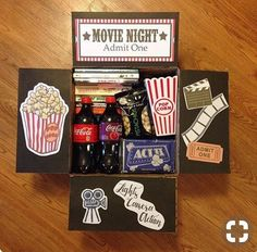 movie night box You are in the right place about DIY Gifts Here we offer you the most beautiful pictures about the DIY Gifts just because you are looking for. When you examine the movie night box part Diy Best Friend Gifts, Bf Gifts, Diy Gifts For Boyfriend, Homemade Gifts For Friends, Homemade Birthday Gifts, Boyfriend Care Package, Boyfriend Presents, Cute Gifts For Friends, Surprise Boyfriend