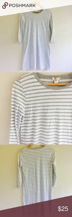J Crew Womens Striped T-shirt Dress J Crew Womens Striped T-shirt Dress White Gray Long Sleeve Shift  Extra Small XS 100% cotton Preowned good condition. Small holes near tag where tag was placed, see pictures. J. Crew Dresses Long Sleeve