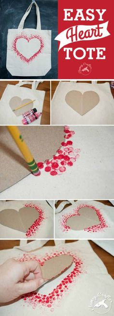 'Heart Tote Bag...!' (via Clumsy Crafter)