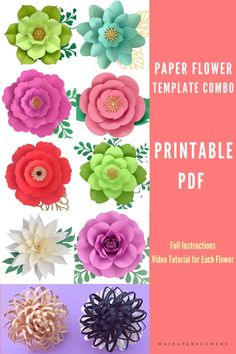This paper flower printable template and tutorial set is great for paper flowers diy projects. Make the large paper flowers easy just with a printer! #paperflowerprintabletemplates #flowertemplateprintable #paperflowersdiy #paperflowersdiytutorial #paperflowertemplate #paperflowerstutorial #makingpaperflowers #largepaperflowers Paper Flower Templates Pdf, Paper Flower Tutorial, Easy Paper Flowers, Paper Flower Backdrop, Flower Center, My Flower, Giant Paper Flowers, Flower Stands, Printable Templates
