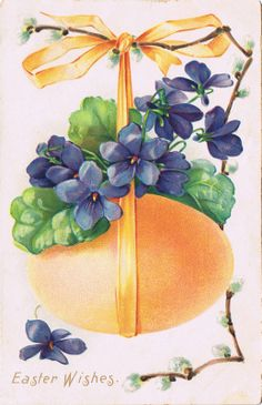 Colorful Easter Eggs & Violets ~ free postcard image, with orange ribbon and egg Egg Pictures, Easter Pictures, Vintage Cards, Vintage Postcards, Photo Souvenir, Sweet Violets, Easter Wishes, Easter Parade, Easter Art