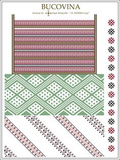 Semne Cusute: IA AIDOMA 044 = Bucovina, ROMANIA Embroidery Motifs, Learn Embroidery, Craft Patterns, Knitting Patterns, Beading Patterns, Pixel Art, Cross Stitch Patterns, Needlework, Weaving