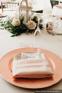 Wedding table setting ideas - white, orange, pink, plates, roses, lantern {Grace Dreim Photography} Wedding Place Settings, Real Weddings, Lanterns, Wedding Photos, Plates, Table Decorations, Ideas, Marriage Pictures, Licence Plates