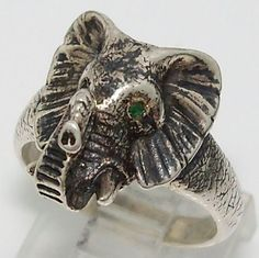 James Avery Retired Rare African Elephant Head Emerald Eyes Sterling Silver Ring #JamesAvery